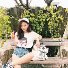 钱夫人CHINSTUDIO 春季韩版t恤女短袖圆领学生宽松时尚打底衫上衣