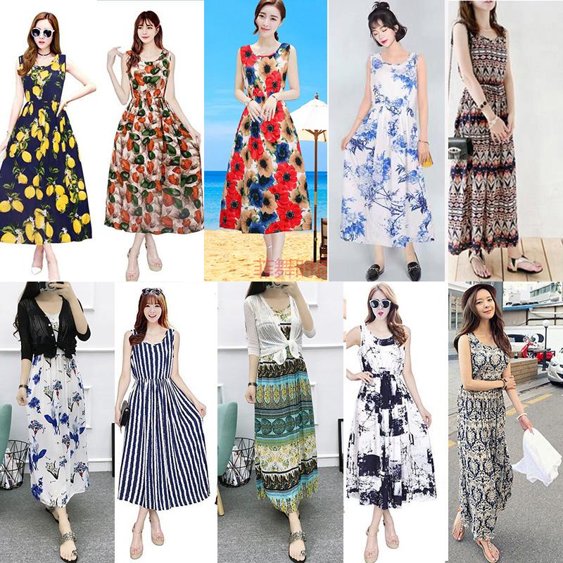 波西米亚长裙沙滩裙连衣裙夏海边渡假碎花绵绸花色无袖背心裙