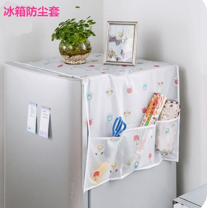 透明印花防水冰箱罩盖巾收纳袋 单双对开门冰箱防尘罩挂袋