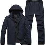 两件套 保暖加绒加厚休闲运动衣男跑步运动服大码 运动套装 男式冬款