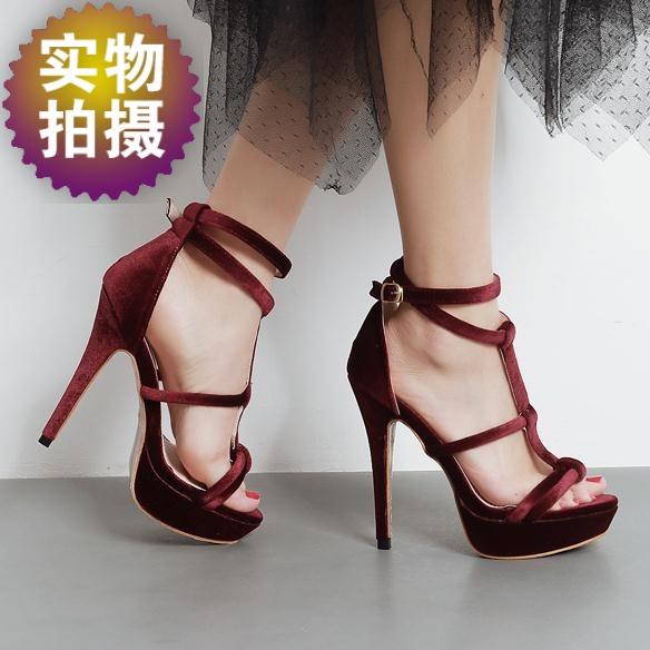 正品[细带性感跟高跟凉鞋]细跟高跟鞋性感凉鞋