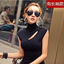 修身 薄款 背心 韩国代购 春夏打底衫 无袖 紧身T恤衫 高领上衣女装 正品