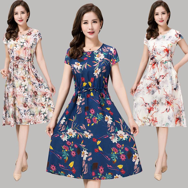 女装绵绸长裙中年短袖连衣裙妈妈中老年夏装夏季人造棉