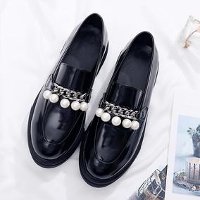 天天特价坡跟珍珠松糕厚底单鞋漆皮英伦小皮鞋大码40-43码女鞋