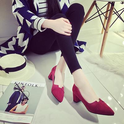 2016春秋季红色高跟鞋尖头黑色浅口单鞋韩版中跟工作休闲女鞋粗跟