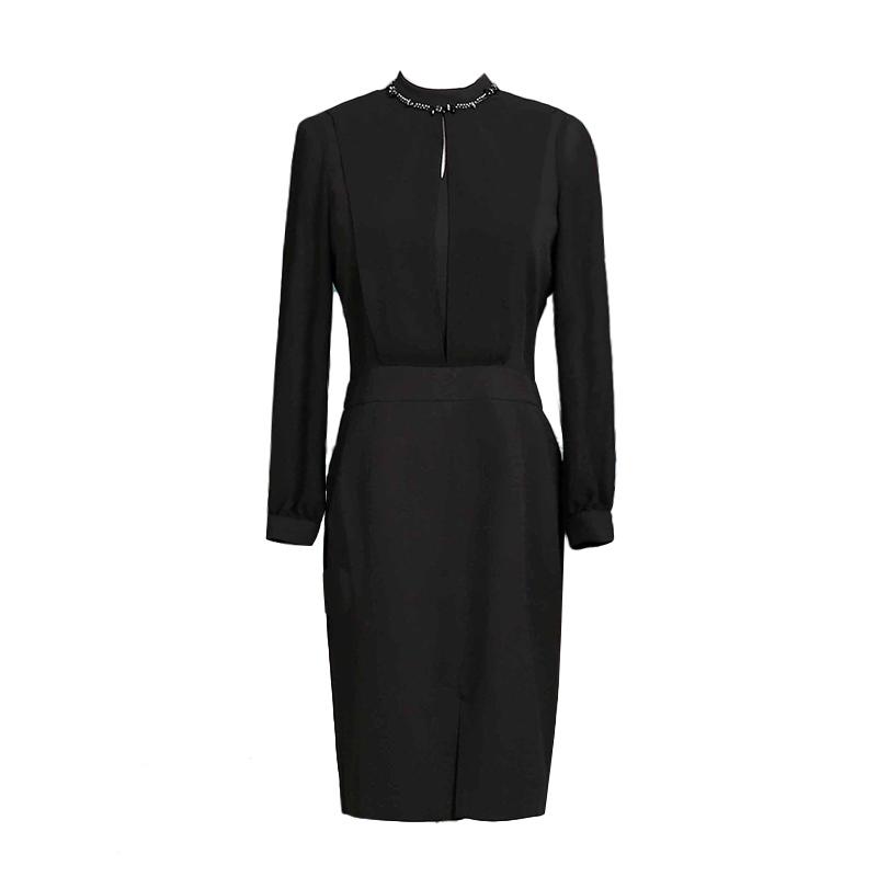 海青蓝2017秋装新款纯色简约长袖立领一步裙通勤气质连衣裙女8393