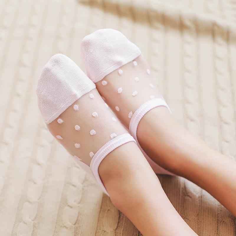 雙裝薄款玻璃絲低幫淺口隱形短襪水晶純棉透明絲襪防滑