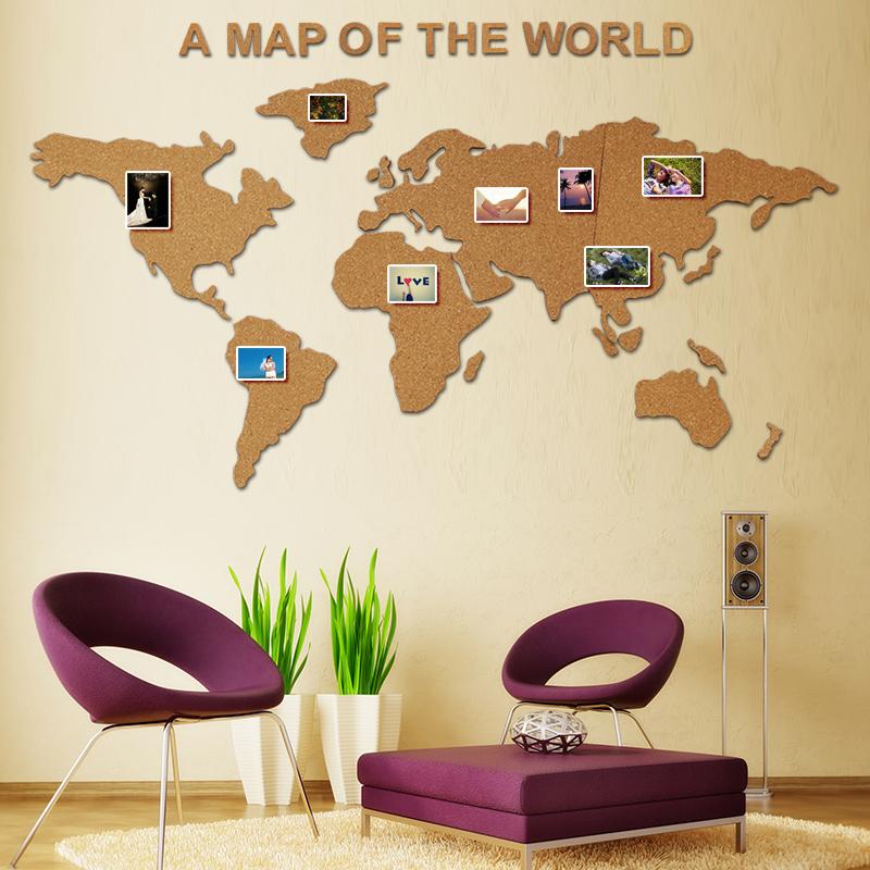 自带背胶世界地图字母软木板照片墙留言宣传栏幼儿园办公软木墙贴