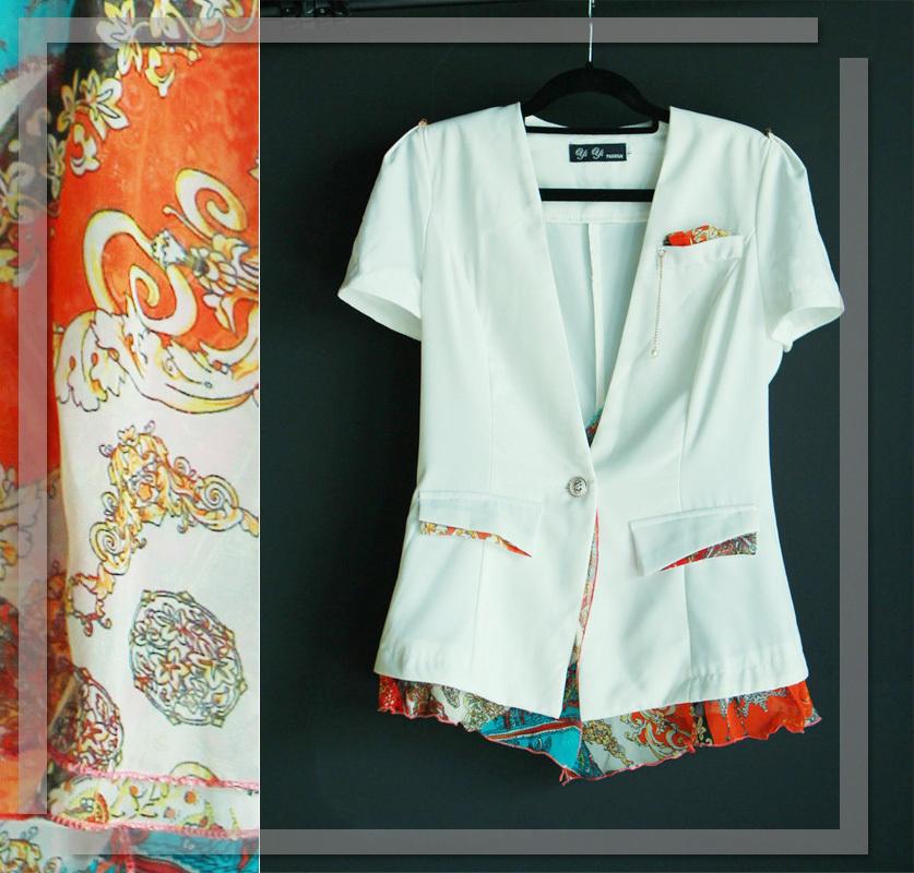 2014春装 黑白色拼接复古印花雪纺短袖小西装短外套 特价回馈
