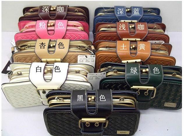 韩版编织包女包 vintage复古风手拿包手风琴包单肩斜跨多层小包包