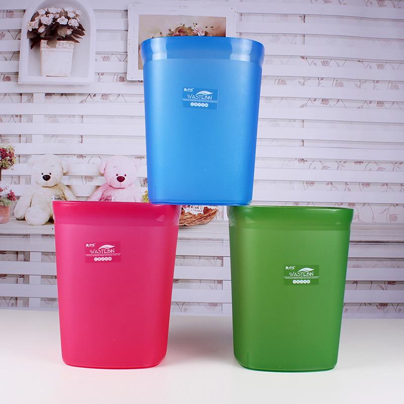 亿美3磨砂方形垃圾桶时尚创意方形垃圾桶糖果色卫生桶纸蒌