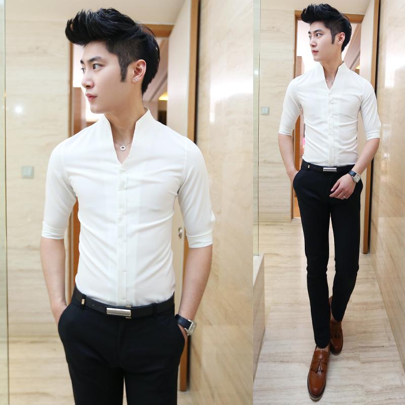 夏款新品短袖衬衫 男潮礼服领韩版修身短袖衬衣