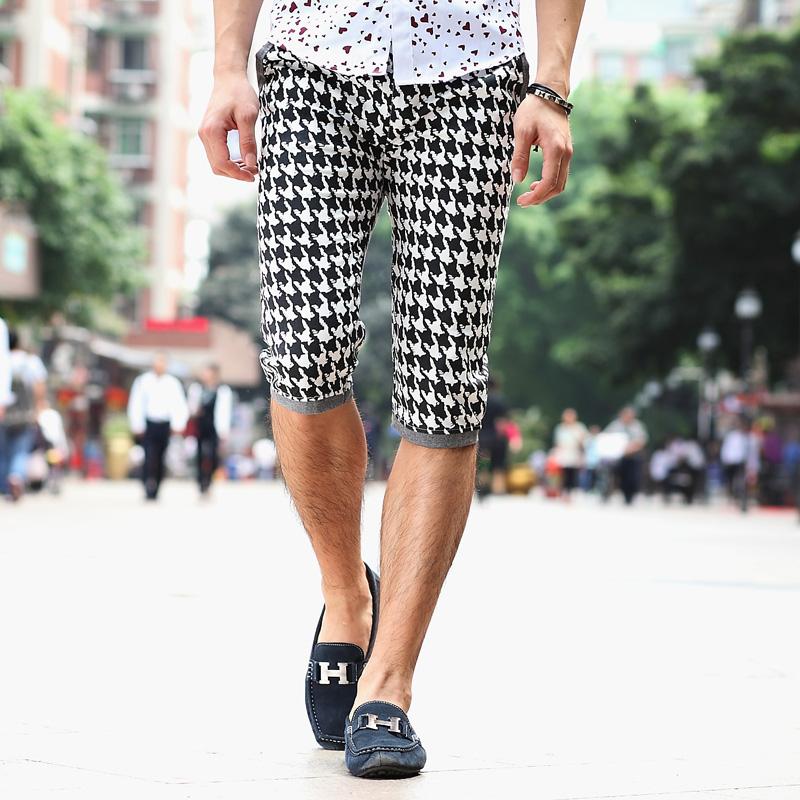 2014夏季英伦千鸟格男装全棉短裤男士修身韩版时尚五分裤中裤包邮