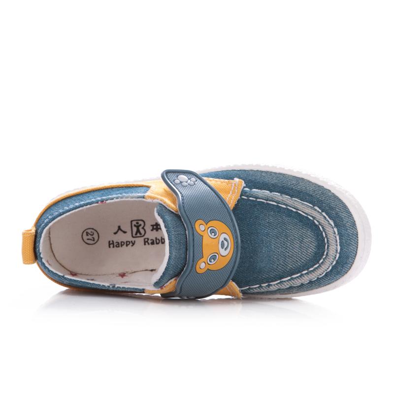 开心兔儿童帆布鞋 男童男宝宝魔术贴小熊帆布单鞋 儿童透气轻便鞋