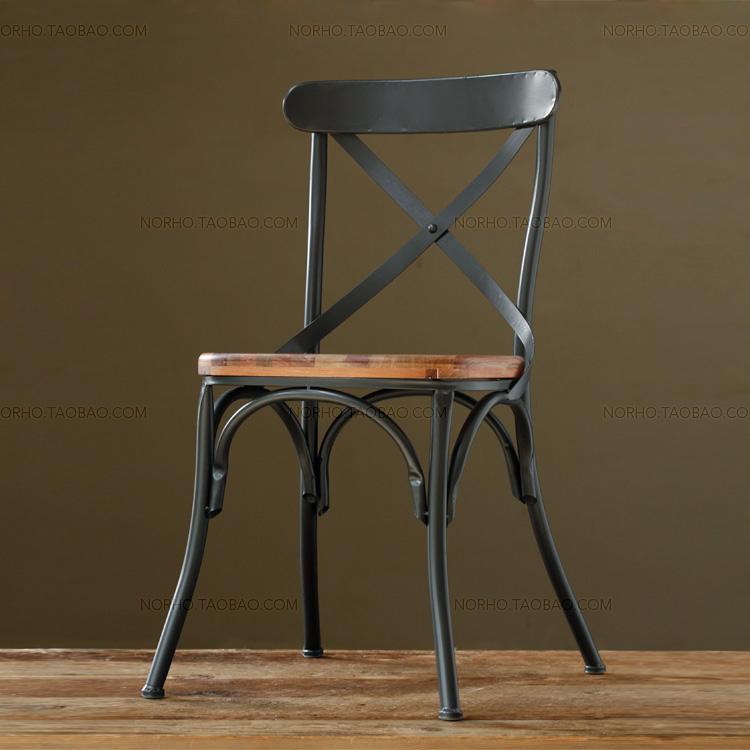 包邮靠背美式乡村铁艺复古实木椅靠背椅简约餐椅客厅家具休闲餐椅