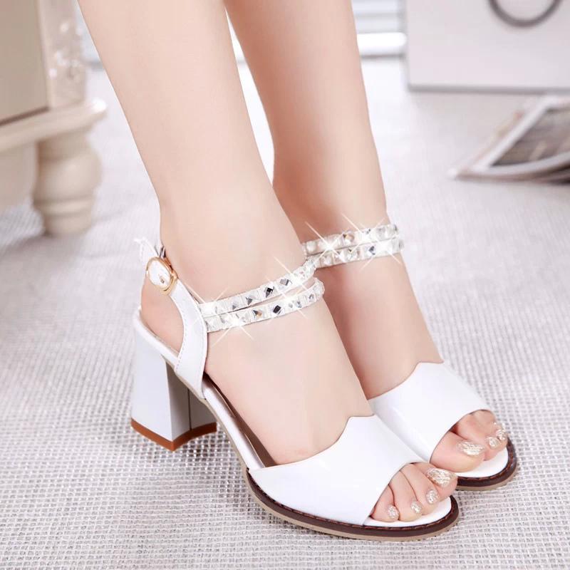 2014夏季新款女鞋裸色粗跟女凉鞋防水台高跟鞋 韩国公主鱼嘴鞋子