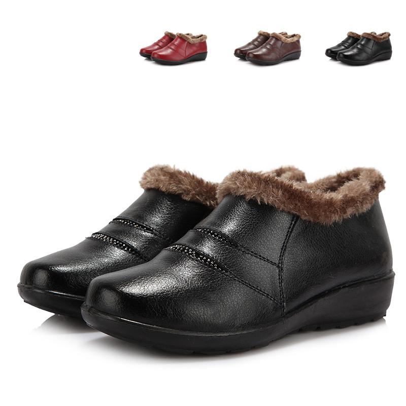 贞鸽冬季新款坡跟中老年牛皮女靴棉鞋棉靴女鞋妈妈鞋保暖高帮鞋