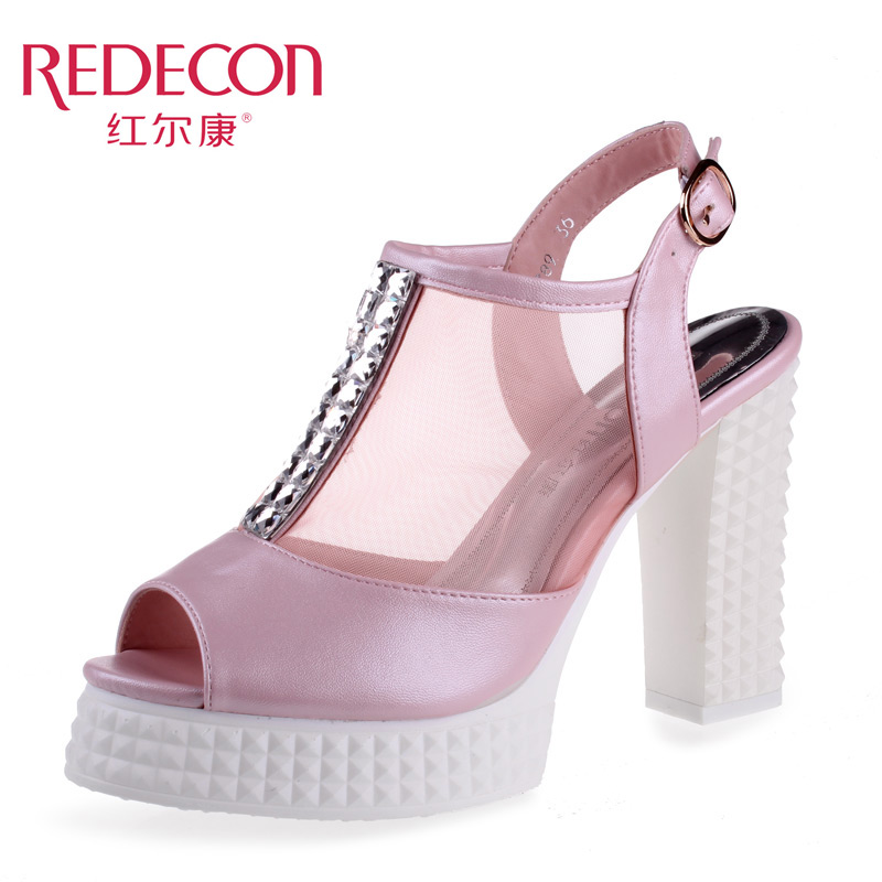红尔康2014夏季新款优雅水钻欧美时尚纱网鱼嘴水台粗高跟女凉鞋