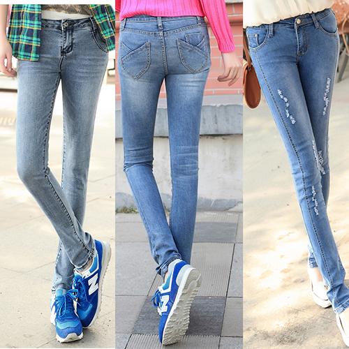 包邮秋装新款女式牛仔裤弹力修身小脚裤韩版显瘦提臀铅笔长裤潮