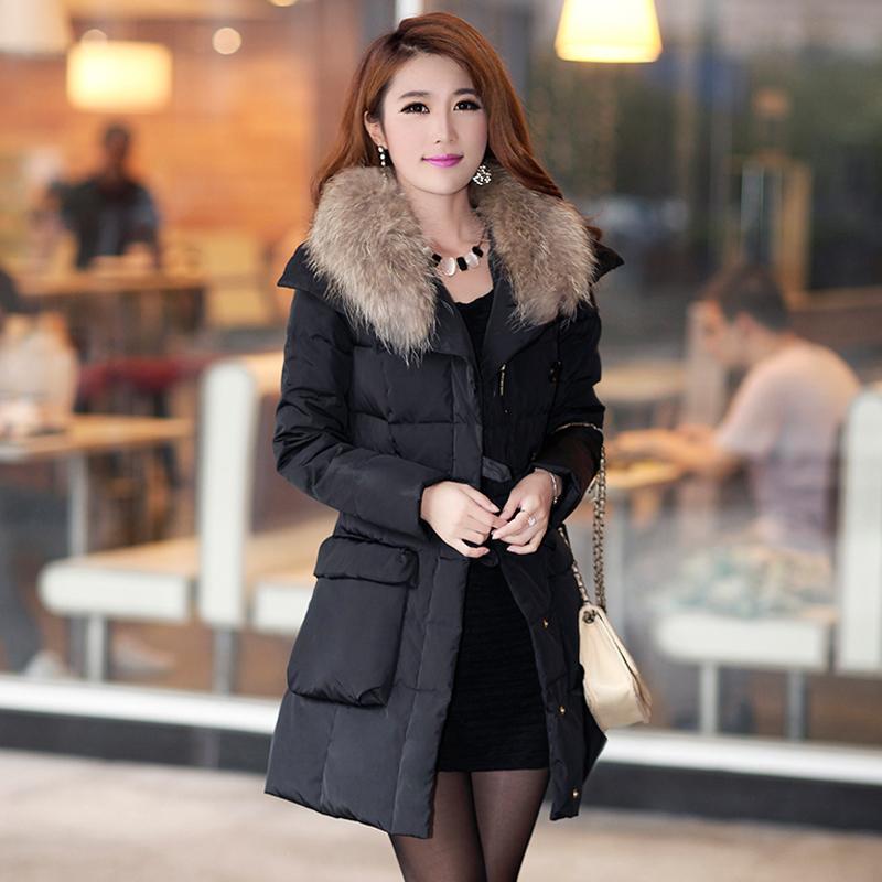 2013冬装新款奢华貉子毛大毛领韩版修身羽绒服女中长款潮外套