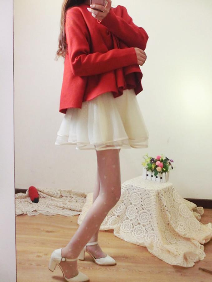韩版百搭吊带拼波点蕾丝半身裙公主蓬蓬裙打底裙欧根纱连衣裙短裙