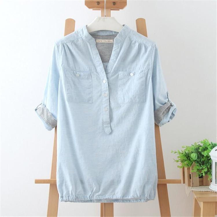 夏季新款女装 日系文艺范亚麻衬衣森女系上衣中袖立领棉麻衬衫女