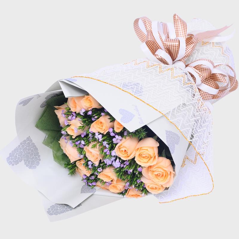 19枝香槟玫瑰花速递池州安庆宣城黄山铜陵芜湖七夕情人节同城送花
