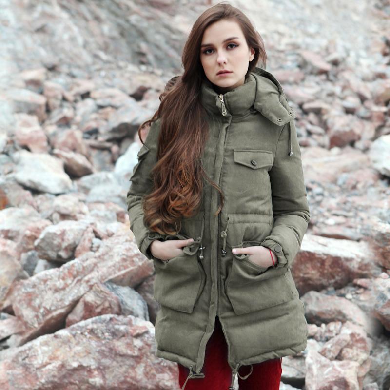 2014原创冬装新款中长款连帽羽绒服女收腰女装外套加厚羽绒大衣