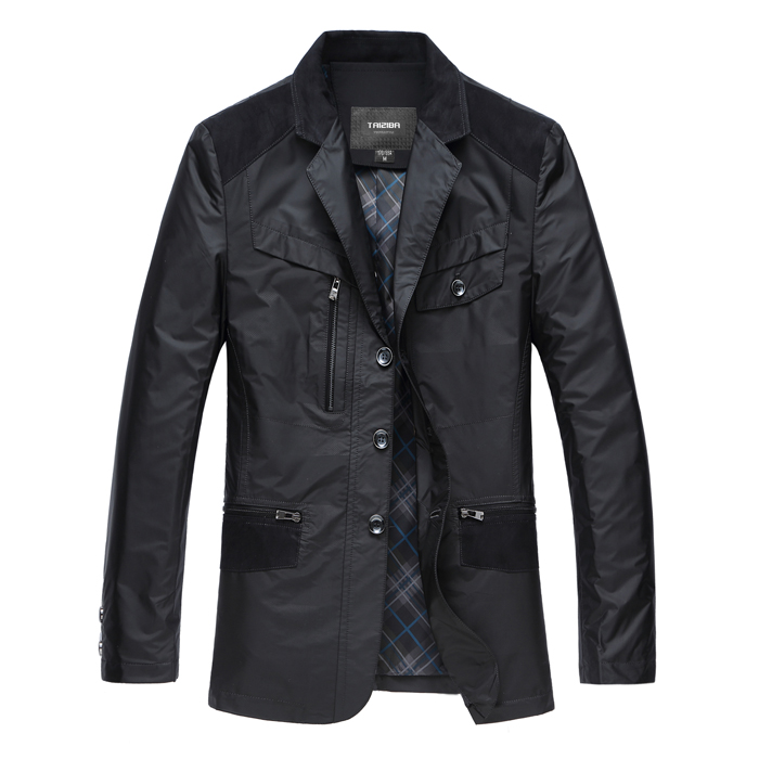 [手机专享]男士夹克 男装外套中长款修身休闲西装2014春装新款