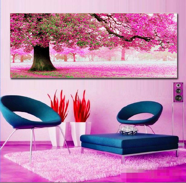 十字绣 最新款客厅大幅 初恋的地方樱花树风景印花十字绣卧室包邮