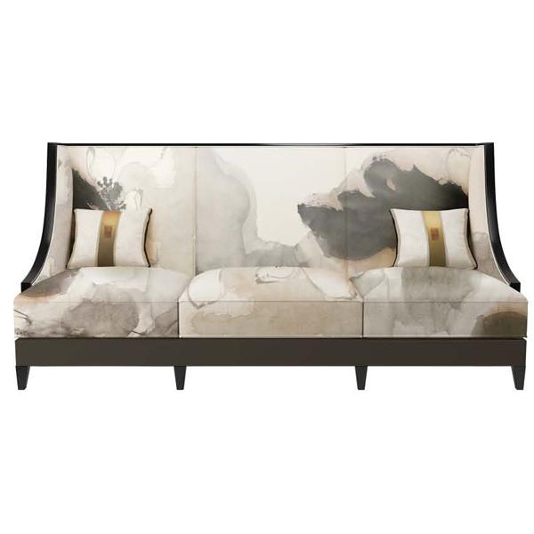 现代新中式家具 创意印画沙发 酒店售楼处客厅实木布艺沙发组合