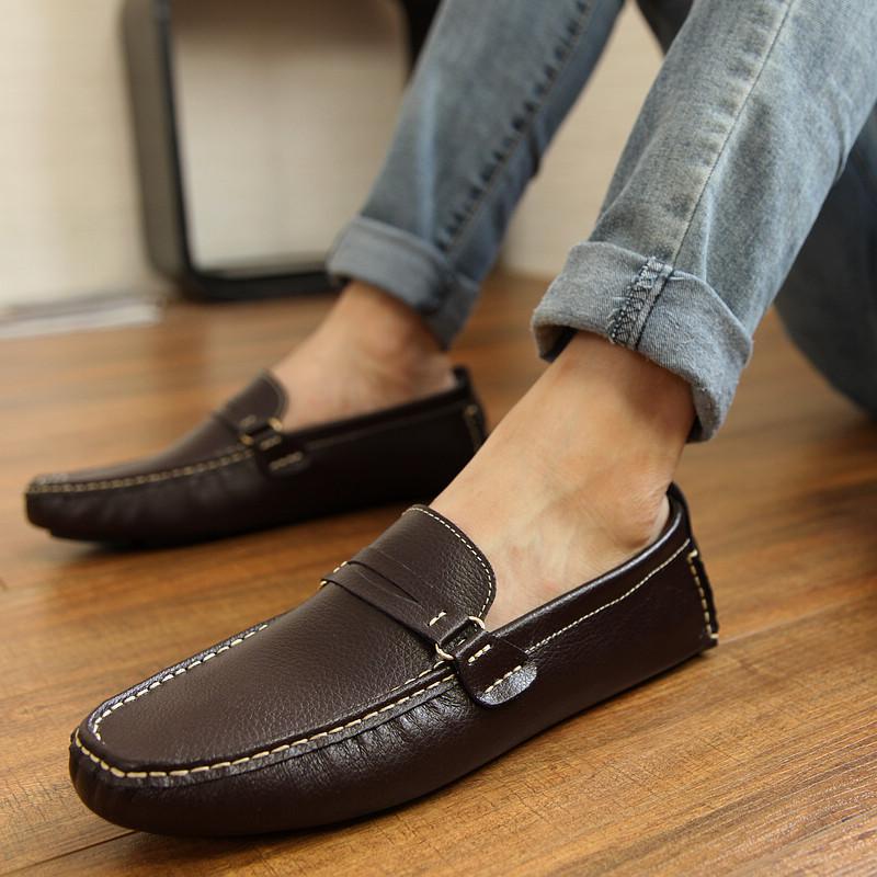 豆豆鞋男真皮男士皮鞋休闲鞋平底耐磨牛皮英伦开车鞋懒人加绒秋冬