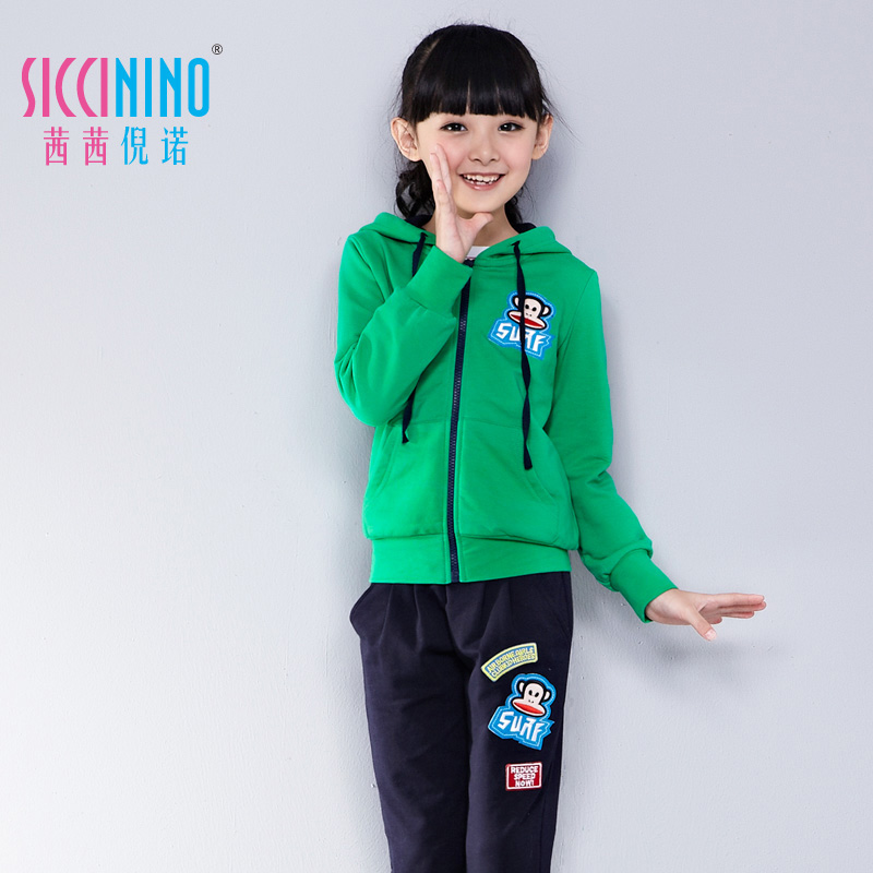 茜茜倪诺2014女童春装新款儿童装套装中大童休闲卫衣两件套