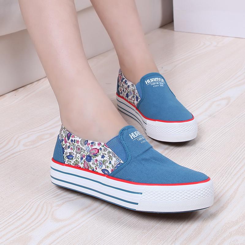 春季新款帆布鞋女 松糕跟厚底女鞋韩版休闲学生鞋低帮套脚女式鞋