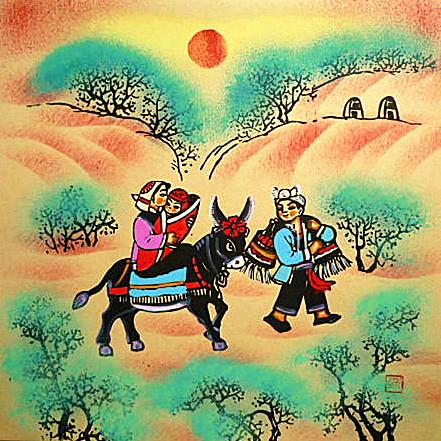 回娘家陕北骑毛驴民俗窑洞饭店农家乐装饰户县农民画尺寸25x25cm