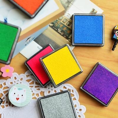 三年二班●韩国文具 方块糖果色 简约多彩印泥 彩色印泥 印章伴