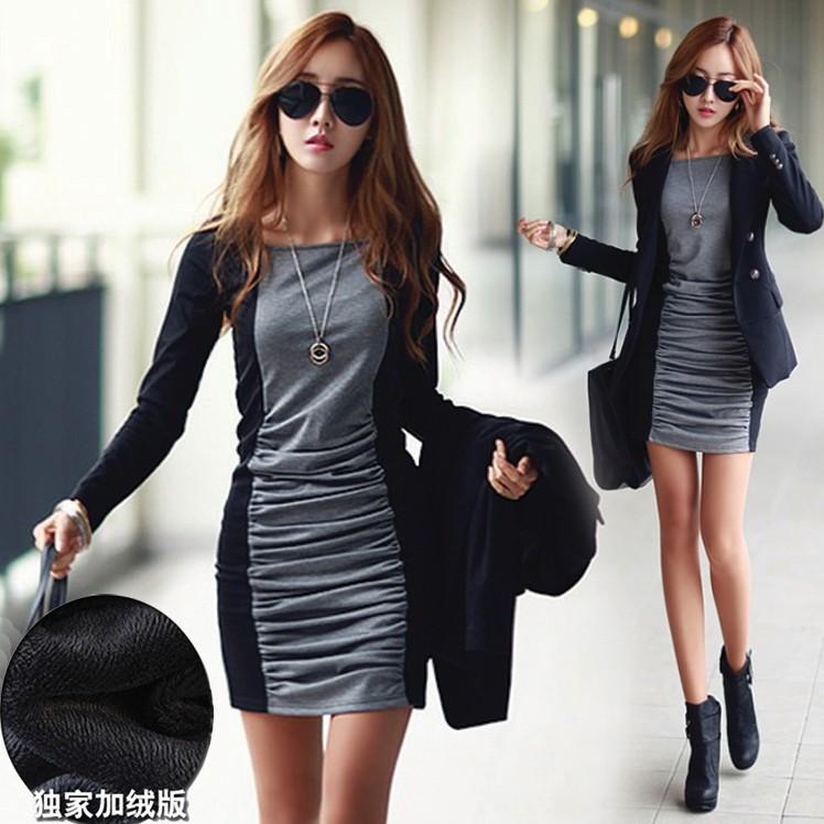 爱朵衣店精品 新款韩版加绒加厚连衣裙保暖修身时尚百搭打底裙