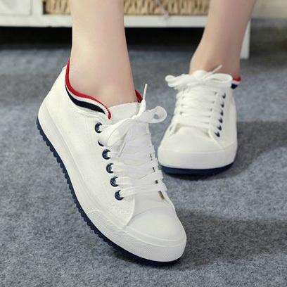 2014春季新款平底帆布鞋女潮韩版英伦舒适透气白色板鞋女学生