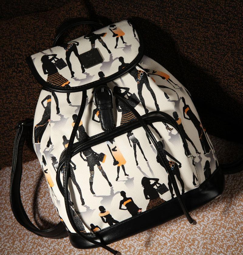欧美时尚 复古包彩绘图抽带皮带装饰双肩包学生包大包包