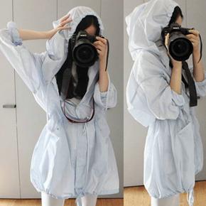 韩版防紫外线中长款防晒衣女士夏季长袖连帽防晒服女装风衣外套