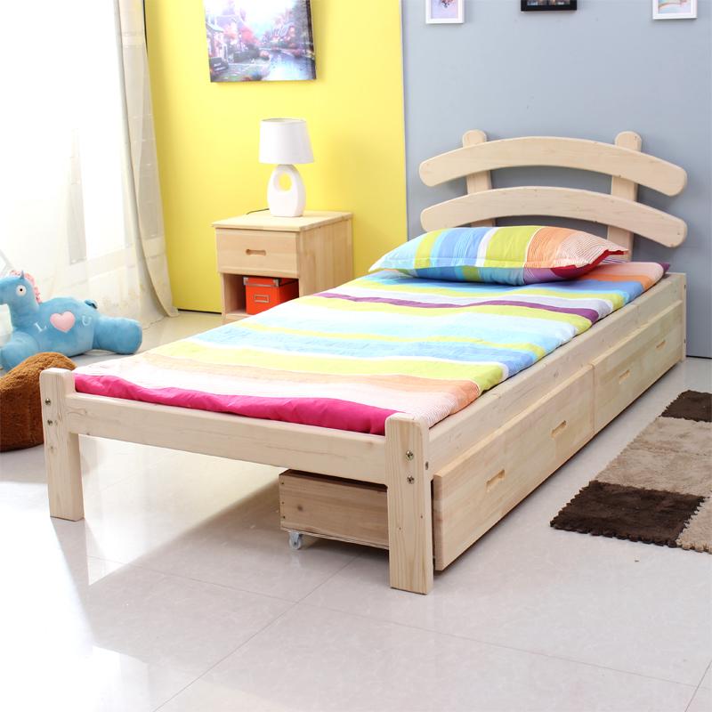 实木单人床 1.2米宽 简易松木双人床1.5米1.8米宽 现货半价包邮