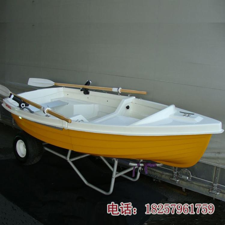 西威克折叠2.67米两分段出口日本折叠玻璃钢手划船3人钓鱼船渔船