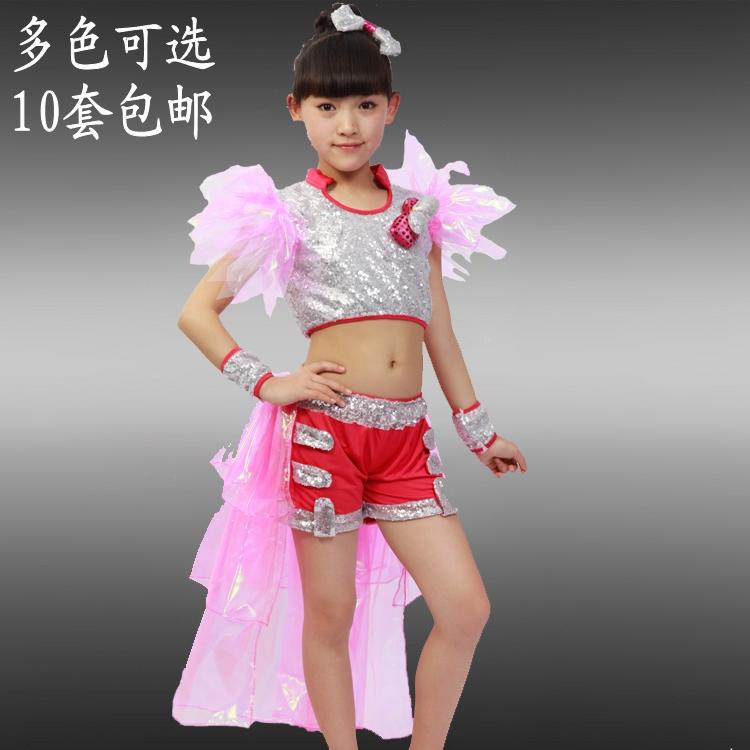 新款儿童演出服饰女童亮片爵士舞拉丁表演服现代舞演出服装舞蹈服