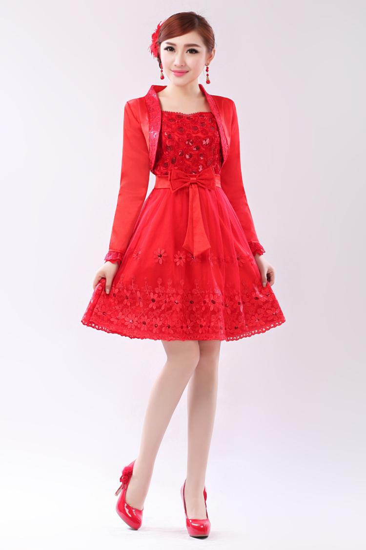 2014春秋装连衣裙红色新娘装结婚晚宴宴会礼服主持敬酒服回门装