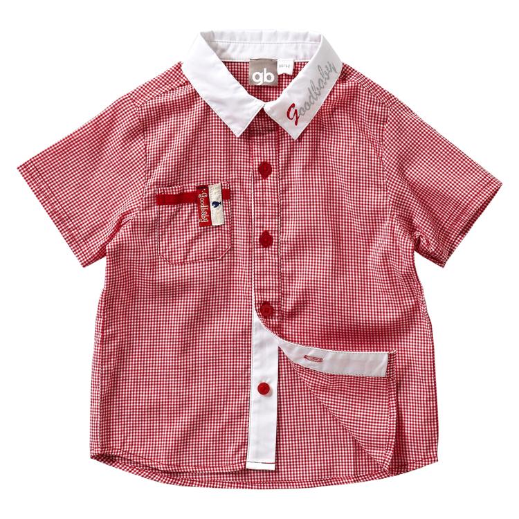 好孩子童装春装初生婴儿小红格短袖衬衫1121130010