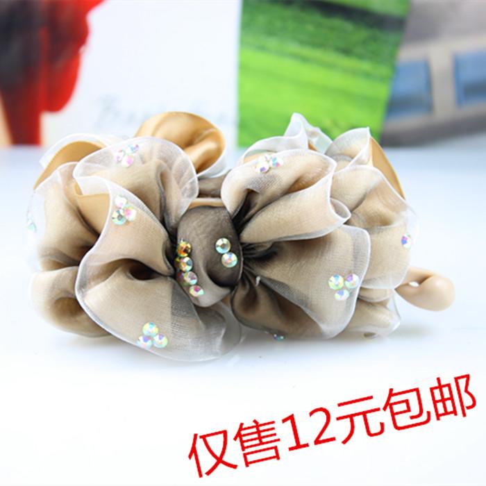 单个包邮韩国雪纺花朵香蕉夹扭夹竖夹头饰发饰美发盘发工具