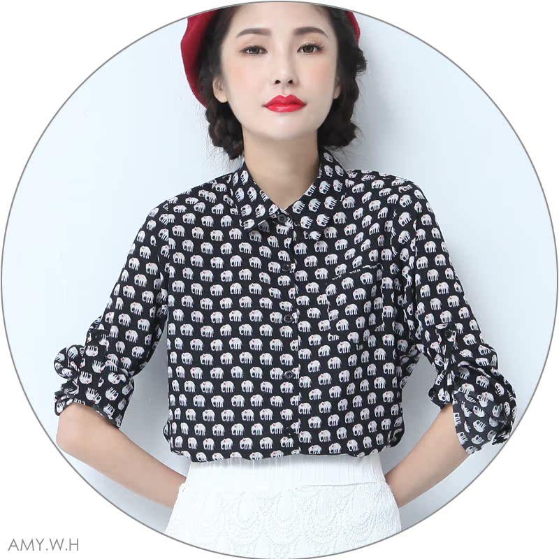 AMY.W.H 原创设计 趣味小象印花质感雪纺长袖复古百搭衬衣88083