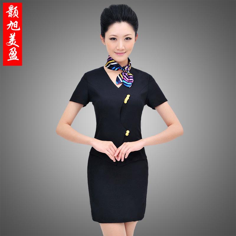 酒店工作服夏装女前台领班经理制服美容师新款职业装短袖套裙西服