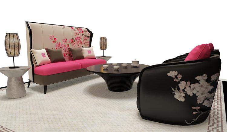 新中式红梅三人沙发 实木住宅家具 个性样板房高背布艺多人沙发椅