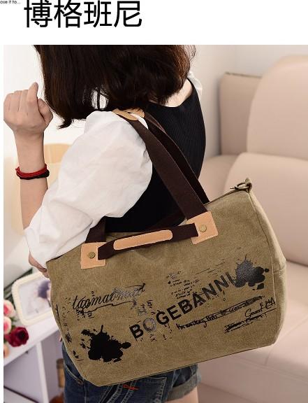 博格班尼正品帆布包休闲女包单肩斜跨手提包
